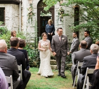 Outdoor wedding ceremony officiant